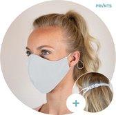 Mondkapjes wasbaar + gratis masker verlenger - Mondmasker - Face Mask - Gezichtsmasker - Gezichtsbescherming - herbruikbaar - met elastiek - ecologisch - 3-laags - volwassenen - wit