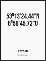 Poster/kaart T WAAR met coördinaten