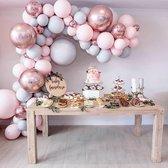 Ballonnenboog - DIY - Roze - Grijs/blauw - Rose goud - Verjaardag Versiering - Bruiloft - 85 Ballonnen - Feest Versiering - 5 Meter - Babyshower - 1 Jaar - GRATIS POMP en OPHANGHAAKJES - Decoratie