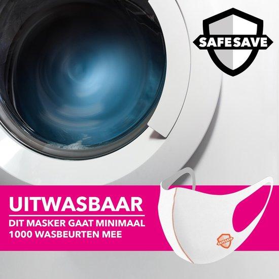 SafeSave witte modieuze wasbaar mondkapje –Herbruikbare mondmaskers met print-niet medische mondmasker - face mask neopreen unisex dames en heren mondkapjes- Ov geschikt boven 13 jaar gezichtsmasker-3 stuks - SafeSave