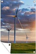 De zon schijnt op verschillende windmolens in de VS Tuinposter 80x120 cm - Tuindoek / Buitencanvas / Schilderijen voor buiten (tuin decoratie)