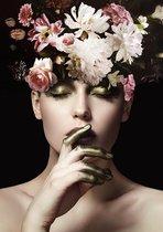 Glasschilderij Vrouw met Bloemen - Glasschilderij zwart wit -  80 x 120 Woonkamer / Slaapkamer