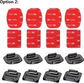 8x Actioncam mounts + sticker - 4x flat - 4x curved - gopro - hero - 8/7/6/5/session/4/3/2/1 zwart