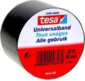 1x Tesa Universalband isolatietape zwart 20 mtr x 5 cm - Klusbenodigdheden - Isolatie tape - Universele tape - Elektriciteitskabels/draden bundelen