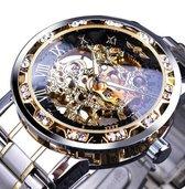 WiseGoods WS1287 Luxe Mannen Horloge - Mechanisch Horloge -  Skeleton Polshorloge - Luxe Diamant Design - Zilver/Goud