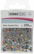 Sorbo home essentials - glass headed pins 200 pcs - glas kopspelden spelden