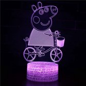 Peppa Pig 3D Lamp met afstandsbediening - Tafellamp - Lamp kinderkamer - Nachtlamp - LED