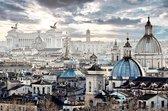 JJ-Art | Skyline van Rome en Vaticaan in Italië in olieverf Fine Art | steden, gebouwen, blauw, modern | Foto-Schilderij print op Glas (plexiglas wanddecoratie) | KIES JE MAAT