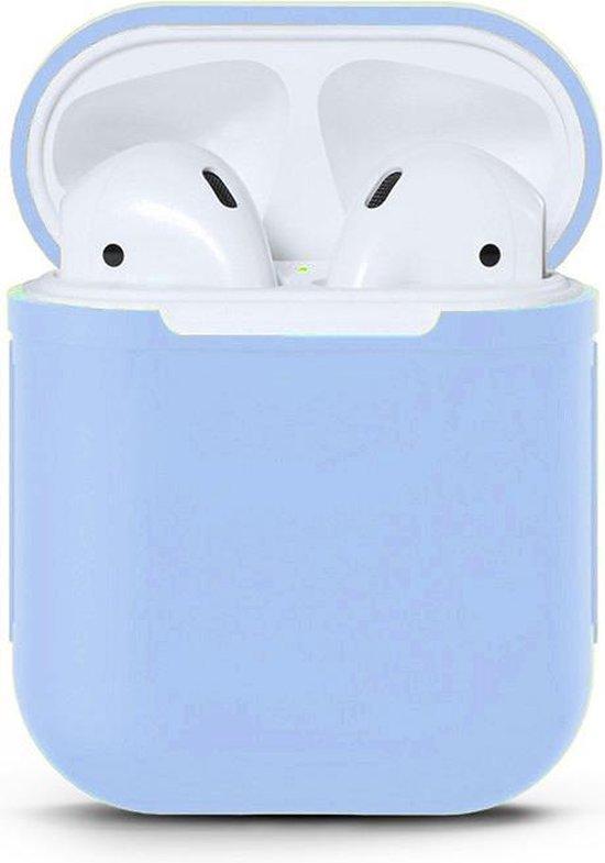 Afbeelding van Apple Airpods Siliconen - Case - Cover - Hoesje - Speciaal voor Apple Airpods 1 en 2 - Lavendel Blauw