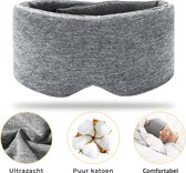 SIMIA™ Supreme 100% Verduisterend Slaapmasker met Opbergzakje - Verstelbare en Comfortabele Oogmasker - Unisex - Slaapbril - Nachtmasker - Blinddoek - Slaap - Meditatie - Yoga - Reis - Zacht en Ademend Katoen - Grijs - Cadeau Tip