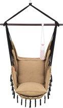 Hangstoel voor Binnen & Buiten. Met 2 Kussens, Drankhouder & Boekenvak - XXL Hangstoel (ook voor kinderen). Belastbaar tot 150kg (Lichtbruin)