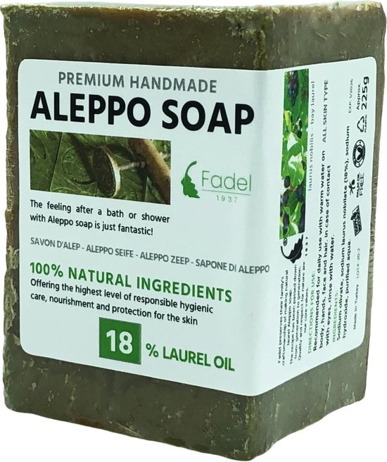 Aleppo Zeep - 18 % Laurier- Natuurlijke Groene Zeep - 225g