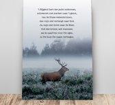 Metalen wandbord A3 't Hijgend hert - Psalm 42' - christelijk - cadeau - bord - Hour of Power
