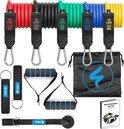 SWILIX ® -  Resistance Band Set - Fitness Elastiek - Weerstandsbanden - Handvaten - Enkelbanden - Draagtas - 11 Stuks