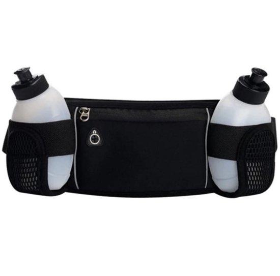 NAKIRA Hardloop Heuptas - Hardloop Telefoonhouder - Heuptas met 2 drinkflesjes- Waterflesjes - Hardloopband - Sport Riem - Running Belt - Heuptasje Sport - Hardloopriem- Jogging