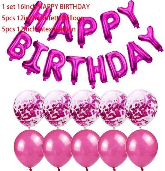 23-delig Ballonpakket HAPPY BIRTHDAY in Fuchsia Roze (31155)