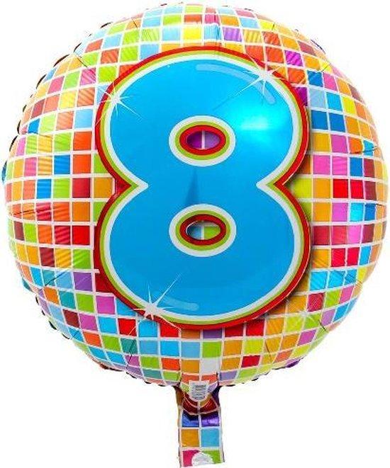 Folieballon 8 JAAR Birthday blocks 43 cm