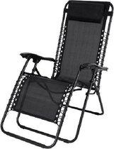 Luxe Ligstoel - Tuinstoel - Ligstoel met hoofdkussen - met verschillende standen (Zwart)