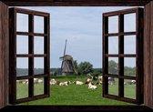 Tuindoek doorkijk door openslaand venster naar een weiland met koeien, schapen en een molen - 130x95 cm - tuinposter - tuinposter doorkijkje – Doorkijk tuinposter - tuinposter doorkijk xxl – Tuinposter buiten