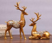 Herten Paar Beeld Hertenkop Hertengewei Dier- Nordic Style - Decoratie Woonkamer - Decoratie - Goud