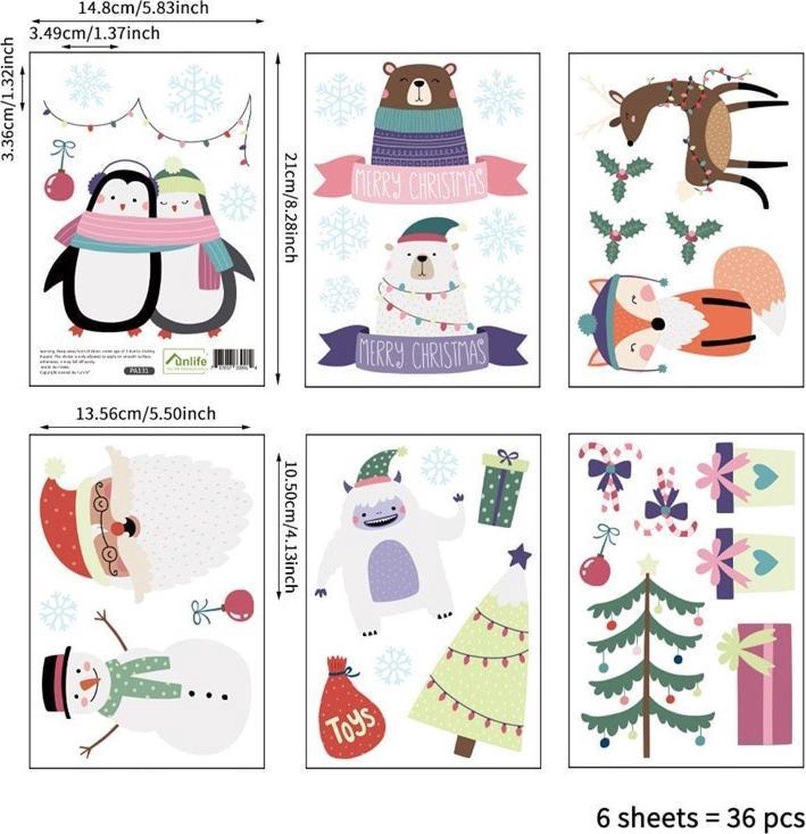 Kerst thema - 36 stuks - Muursticker - Wanddecoratie - Kinderstickers