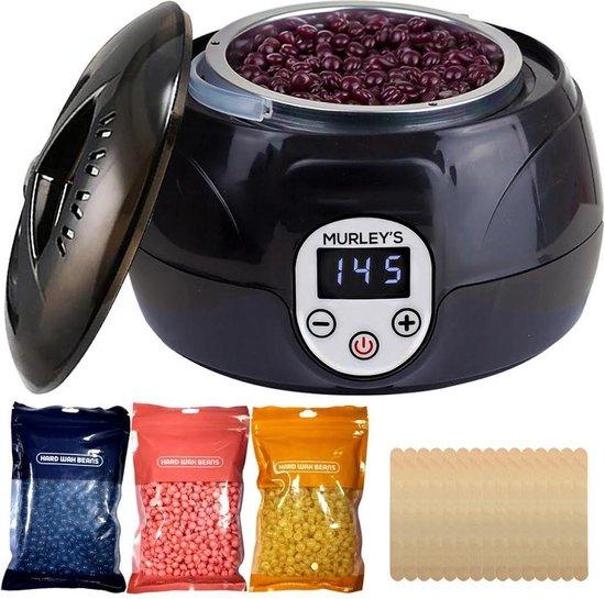 MURLEY'S Pro Wax Ontharen - Inclusief 300 gram Wax Bonen en 10 Houten Spatels - Wax apparaat Geschikt voor het Ontharen van Lichaam en Gezicht - Ontharingsapparaat - Harsapparaat - Harsverwarmer - Hars Verwarmer Apparaat - Wax Beans Heater