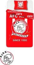 Ajax - Dekbedovertrek - Ajax dekbed - 1 Persoons - Club - Amsterdam - Voetbal - Rood Wit - 140 x 200