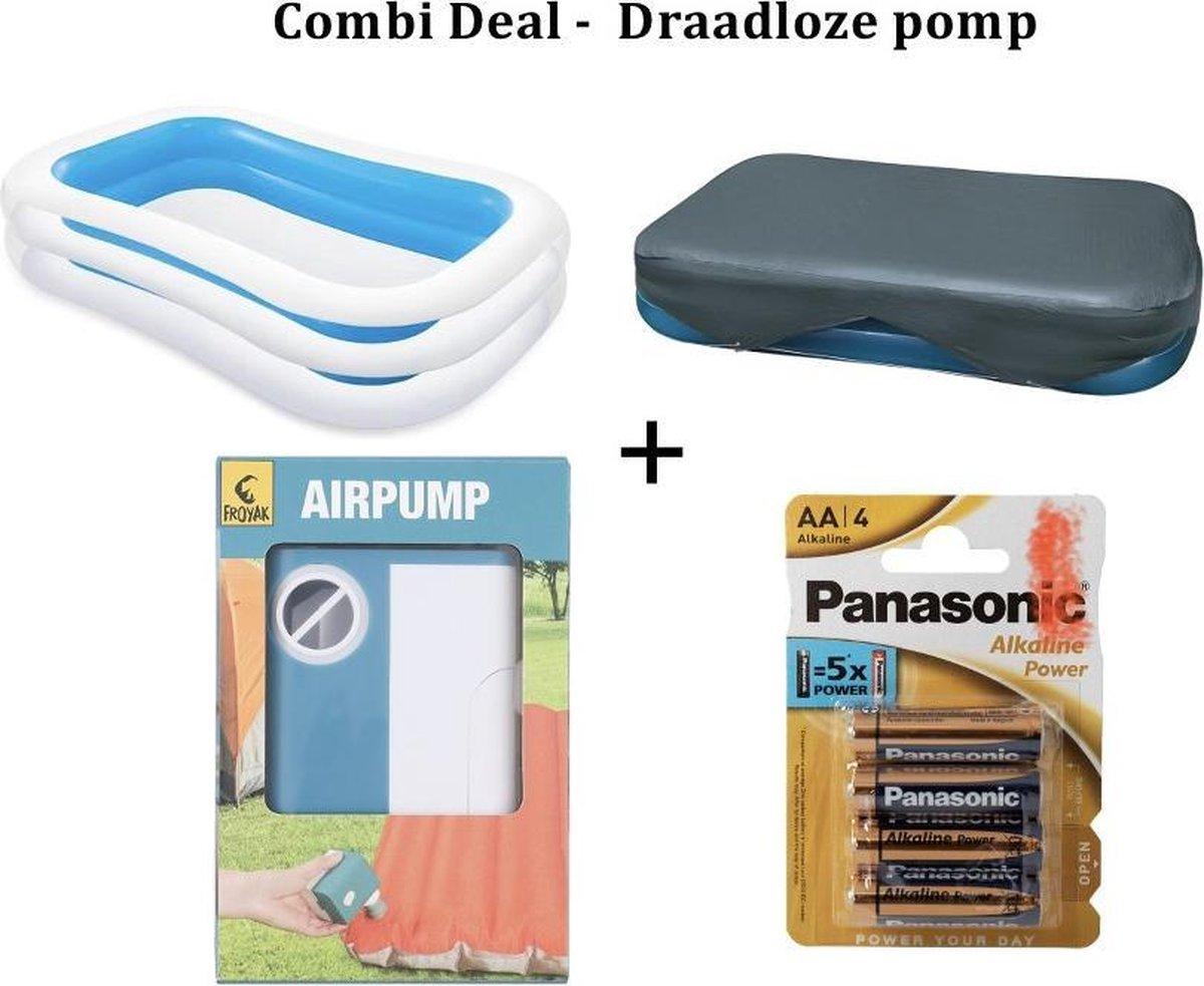 Combi Deal - Luchtpomp op Batterijen / Intex Familie Zwembad 262x175x56cm - Blauw zwembad Met Draadloze Luchtpomp en Met Afdekhoes