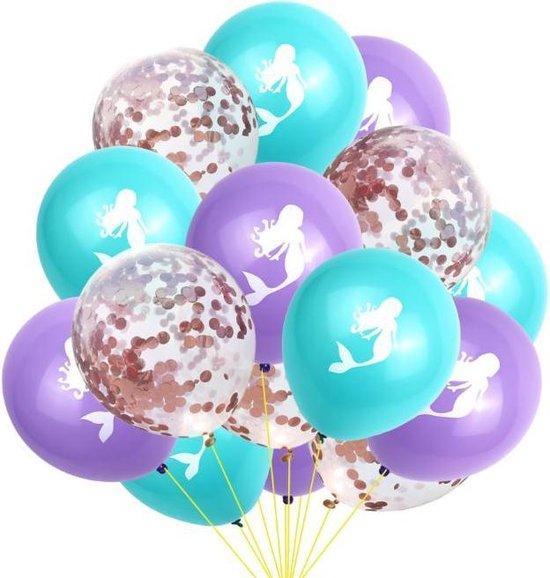 Luxe Ballonnenset Zeemeermin - Mermaid paars / groen / roze confetti - 15 stuks