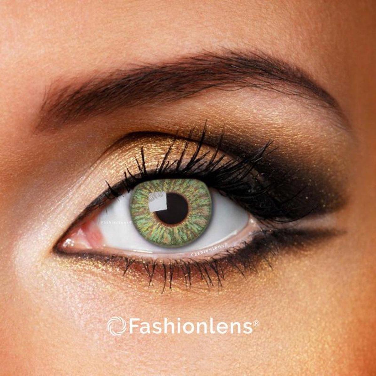 Kleurlenzen - Green Passion - jaarlenzen met lenshouder - groene contactlenzen Fashionlens