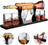LuZana Whiskey Karaf - AK 47 - Decanteer Karaf  - Whiskey Set - Incl. 4 Glazen - Whisky Karaf - Karaf