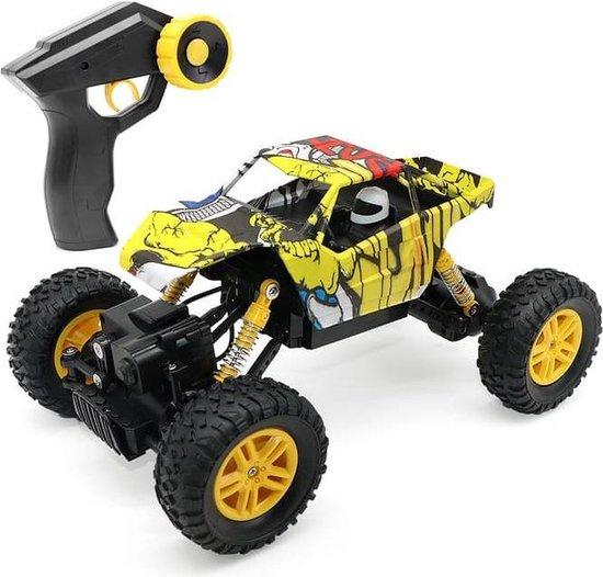 Afbeelding van RC Rock Crawler Scribble 2.4 GHz off Road monster truck 4x4 wiel aandrijving lengte 27 cm extra gratis 2e oplaadbare accu- bestuurbare auto met afstandsbediening direct leverbaar buiten speelgoed