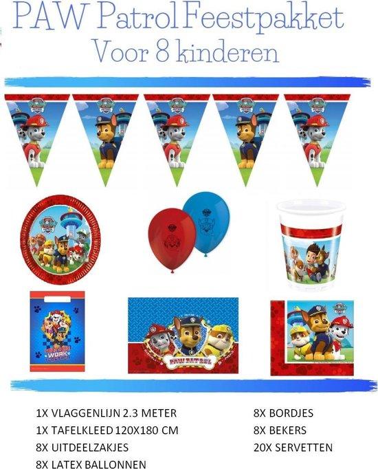 Paw Patrol Versiering Verjaardag Feestpakket - voor 8 kinderen