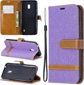 Kleuraanpassing Denim Texture Horizontale Flip Leather Case met houder & kaartsleuven & Wallet & Lanyard voor Nokia 2.2 (paars)
