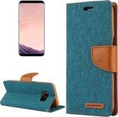 GOOSPERY CANVAS DAGBOEK voor Samsung Galaxy S8 + / G9550 canvas textuur horizontale flip lederen tas met kaartsleuven & portemonnee en houder (groen)