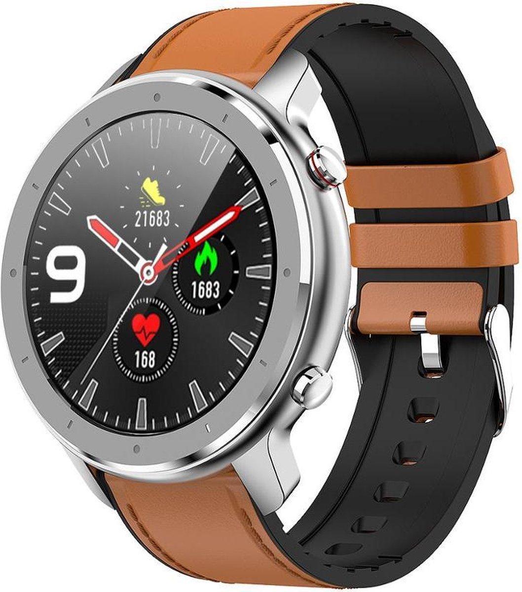 Belesy® Modern - Smartwatch - Horloge - 1.28 inch - Kleurenscherm - Full Touch - Zilver - Bruin - Leer kopen