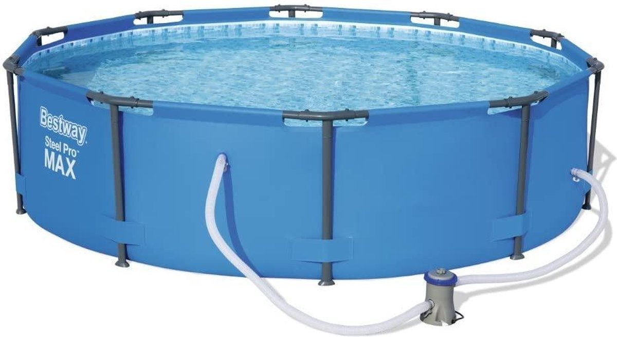 Bobby's Steel zwembad - Familiezwembad - Frame Pool - Complete set - Rond zwembad met stalen frame en filterpomp - Zwembaden - 305 x 76 cm - Blauw
