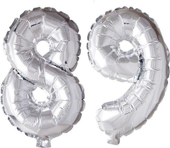 Folieballon 89 jaar zilver 41cm