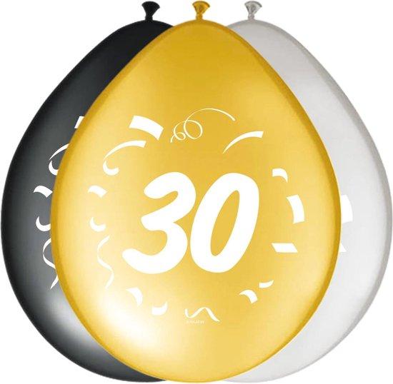 Ballonnen 30 jaar Happy birthday 30cm 8 stuks