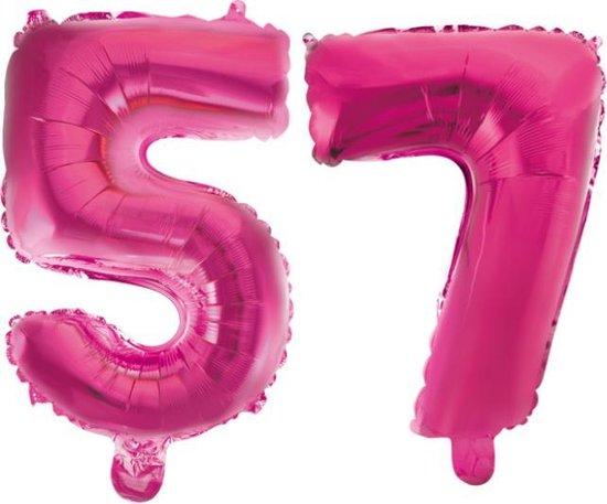 Folieballon 57 jaar roze 41cm