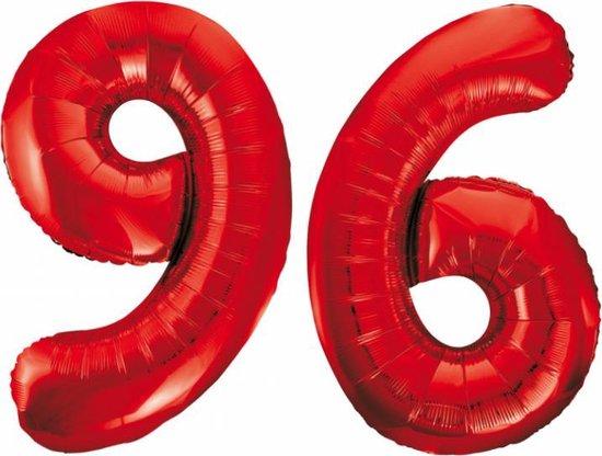 Folieballon 96 jaar rood 86cm