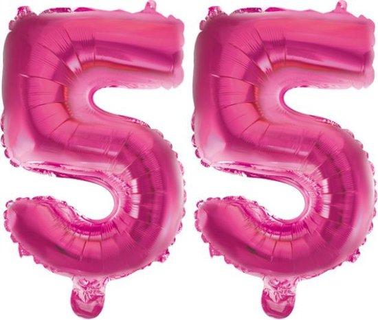 Folieballon 55 jaar roze 86cm