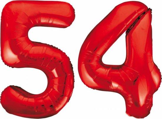 Folieballon 54 jaar rood 86cm