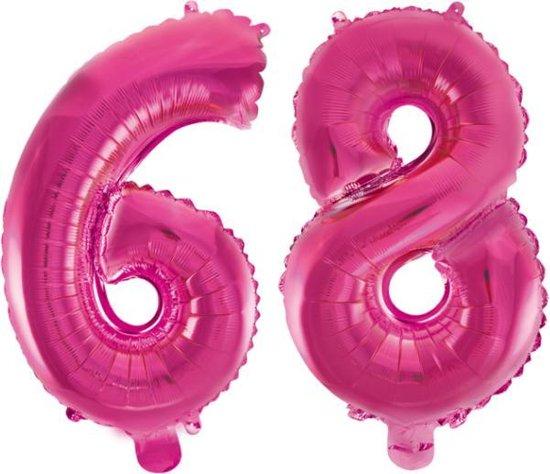 Folieballon 68 jaar roze 41cm