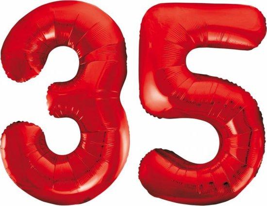 Folieballon 35 jaar rood 86cm