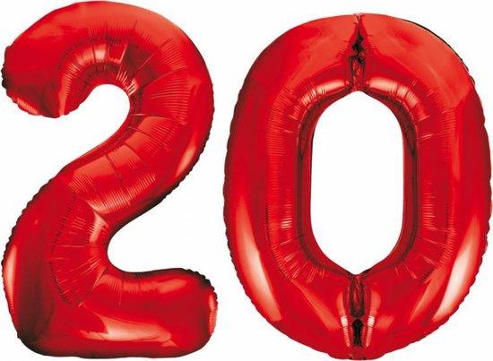 Folieballon 20 jaar rood 86cm