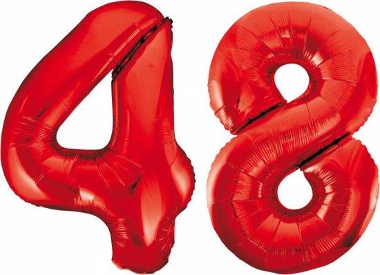 Folieballon 48 jaar rood 86cm