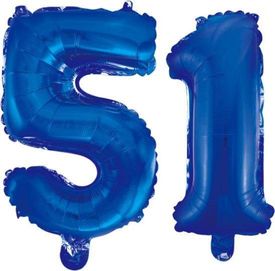 Folieballon 51 jaar blauw 86cm