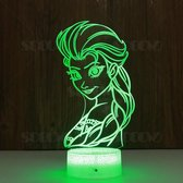 Frozen 3D Lamp met afstandsbediening - Elsa - Tafellamp - Nachtlamp - Lamp kinderkamer - LED