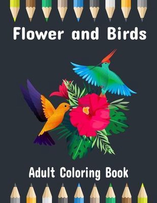 Flower and Birds Coloring Book